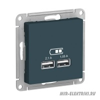 Розетка USB Schneider Electric AtlasDesign 5В, 1 порт-2,1А, 2й порт- 1,05А изумруд