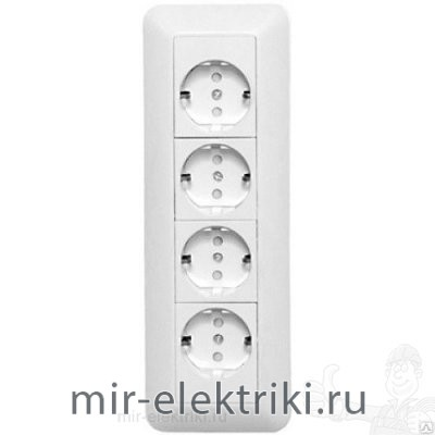 Розетка Schneider Electric Этюд SE ПРИМА 4-я с/з со шторкой белая