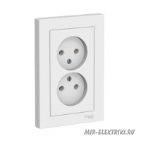 Розетка Schneider Electric AtlasDesign в сборе, двойная, б/з, белая