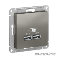 Розетка USB Schneider Electric AtlasDesign 5В, 1 порт-2,1А, 2й порт- 1,05А сталь